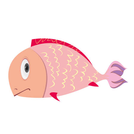 lament: Cartoon Character Fish Isolated on White Background. Vector
