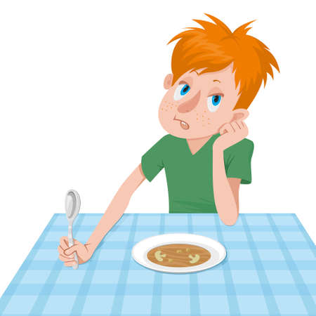 boy eating a soup for dinner  イラスト・ベクター素材