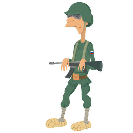 bast: Russian soldiers in bast shoe