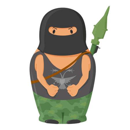 matrioshka: Vector  matrioshka terrorist with RPG Illustration