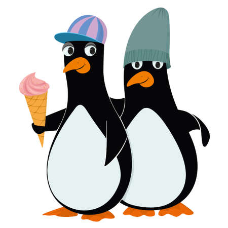 Vector Penguins and ice cream