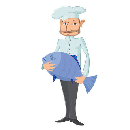 whites: vector illustration. Chef with fish