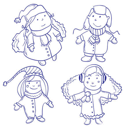 winter clothes: set of four children  in winter clothes
