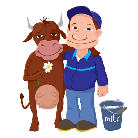 Vector Illustration of a Farmer With Cow