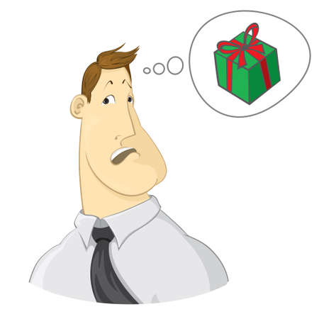 thinking person: man thinks about the gift