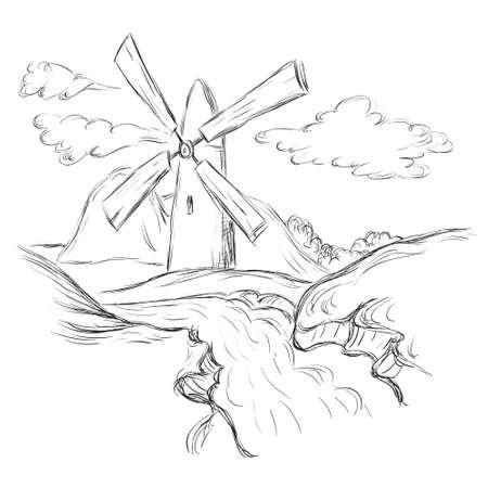 non    urban scene: Hand drawn illustration of a mill