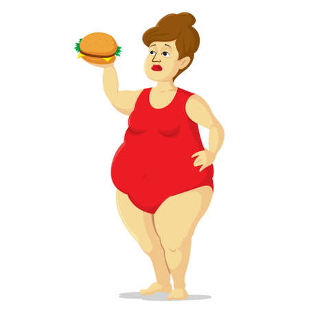 Cartoon style overweight woman and unhealthy food Illustration