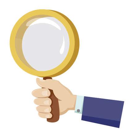 Hand holding magnifier Illustration