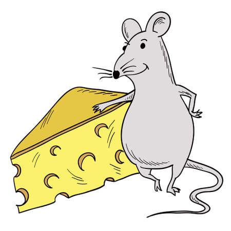 whisker characters: imagen predise�ada de un rat�n que se inclina en un queso