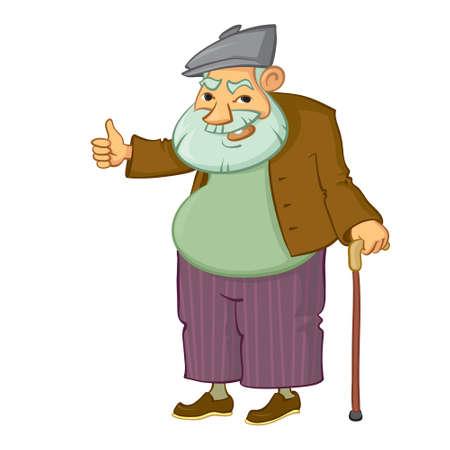 dibujos animados hombre viejo con el pulgar arriba