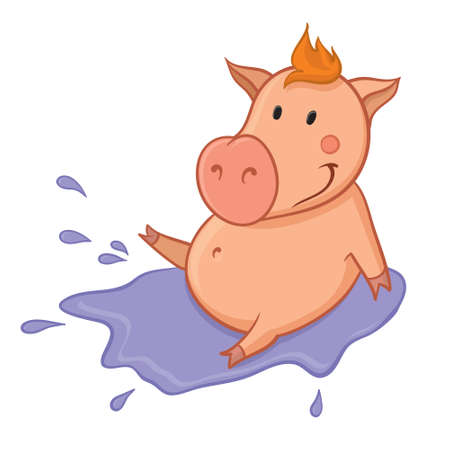 artoon: Pig sitting in puddle of mud