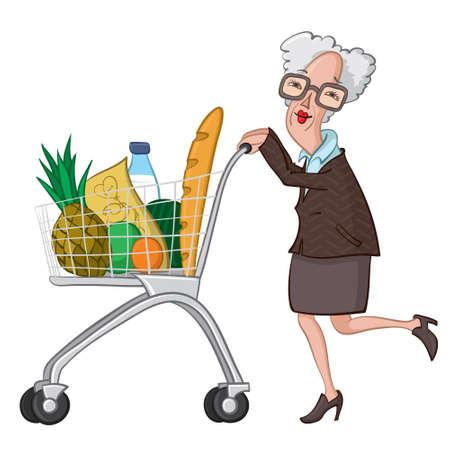 alte frau: alte Frau schiebt einen Warenkorb mit Lebensmitteln