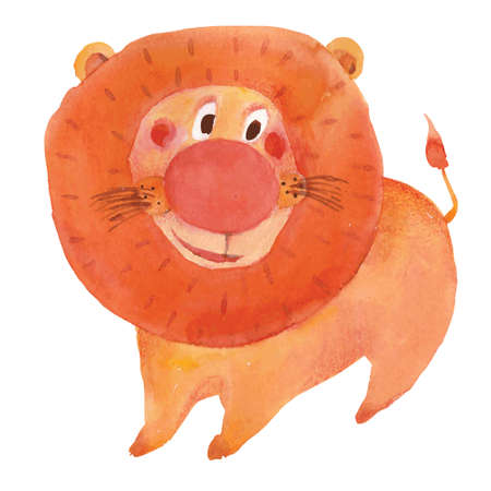 vector watercolor cute  lion character