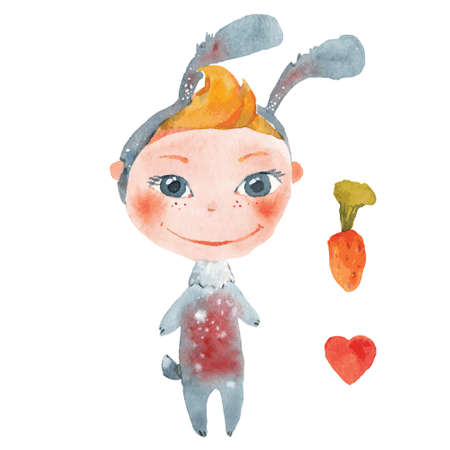 child dressed as a bunny drawing by watercolor Illustration