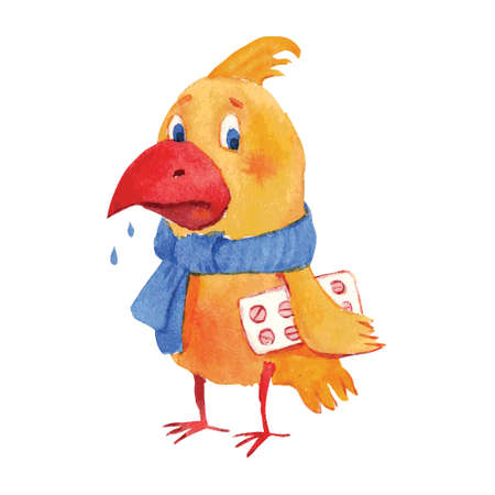 bird flu: watercolor vector illustration of sick bird