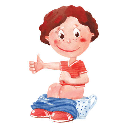 chamber: watercolor boy sitting on  chamber pot
