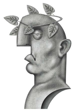 illustration of a Roman emperor bust illustration