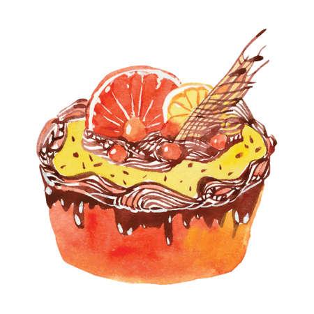 orange cake: watercolor cream cake with orange