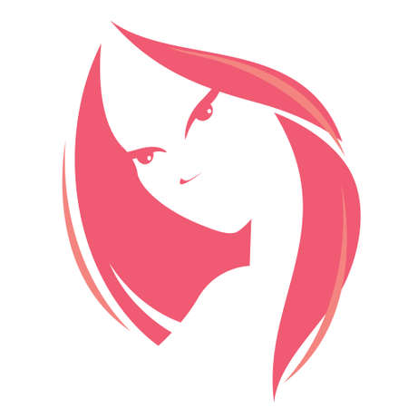 stylized: illustration of woman head,  vector