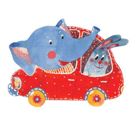 Watercolor illustration of  elephant and  hare in  car, vector