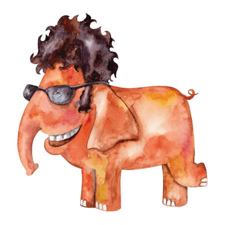 crazy hair: watercolor painting of elephant in sunglasses