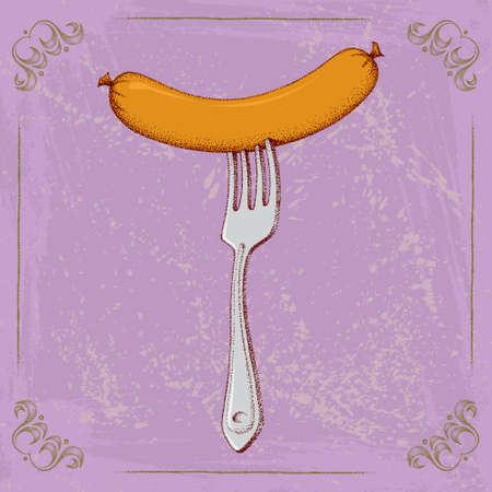 banger: Sausage on the fork, Vector Illustration Illustration