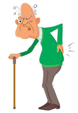 loin: elderly man suffering from a  pain, vector illustration