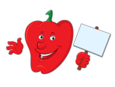 bell pepper: smiling bell pepper cartoon  character holding up a blank sign