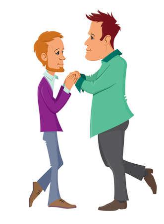 gay family: Cartoon character of  gay couple
