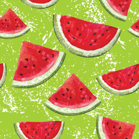 Watercolor seamless pattern with watermelon