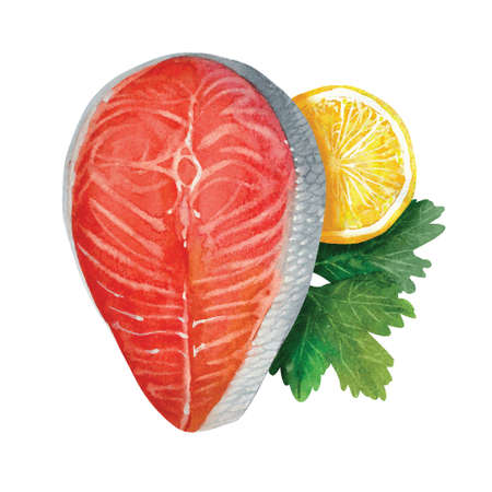 salmon red fish steak with herbs and lemon. watercolor vector illustration Ilustração