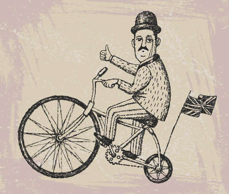 Vector illustration of hand drawn gentleman ride a vintage bicycle