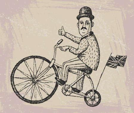 englishman: Vector illustration of hand drawn gentleman ride a vintage bicycle