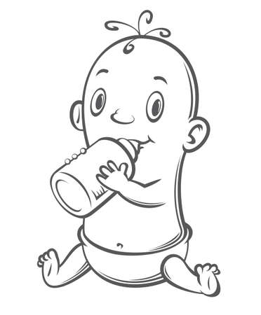clip art feet: newborn baby with a bottle, vector illustration