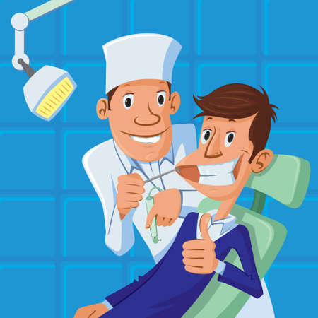 happy dentist and patient in dental chair, both are smiling, patient making a thumb up