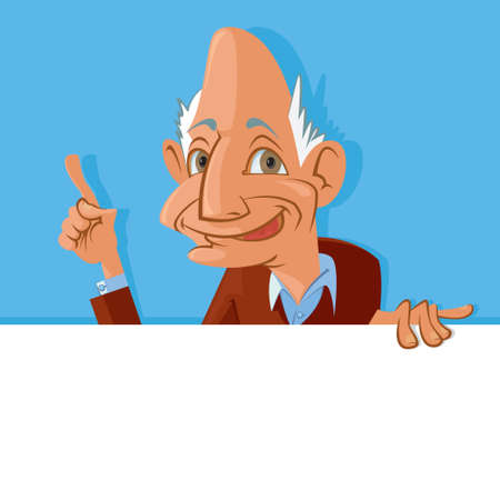 man holding a blank sign: Vector illustration of  smiling old man holding blank sign Illustration