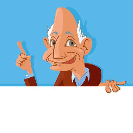 gaffer: Vector illustration of  smiling old man holding blank sign Illustration