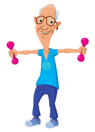 cartoon character of old man making physical exercises