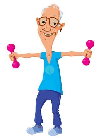 hombre fuerte: personaje de dibujos animados del viejo hombre haciendo ejercicios f�sicos