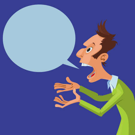 Vector illustration of cartoon screaming man with speech bubble
