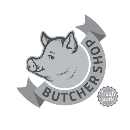 insigne, étiquette ou de conception des modèles rétro vintage pour boucherie