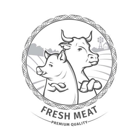 Illustration of butcher shop