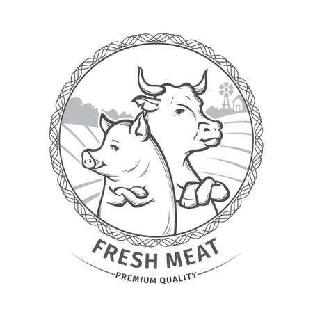 butcher: Illustration of butcher shop