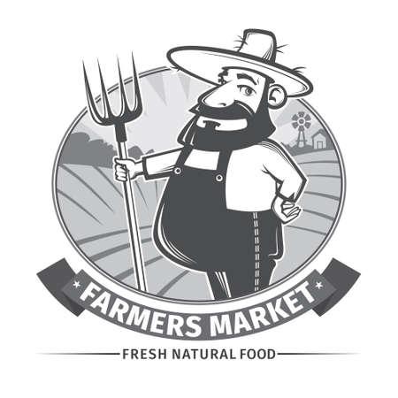agricultor: etiqueta con los agricultores de usar y su tridente Vectores