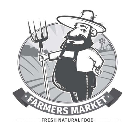 label with friendly farmer and his pitchfork