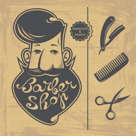 tijeras: Conjunto de Peluquería elementos de diseño con el hombre barbudo, peine, maquinilla de afeitar y tijeras