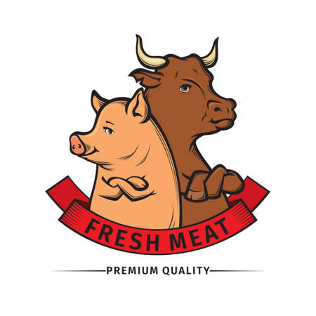vector Illustration of butcher shop logo, meat label template with cow and pig Çizim