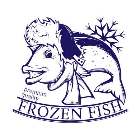 frozen fish  logo for fish shop. vector illustration Illustration