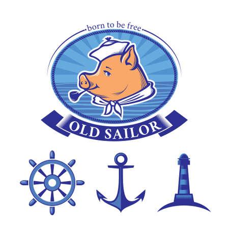 smoking pipe: Sailor logo design and set of vintage nautical icons, piglet sailor smoking  pipe