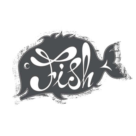 inscribed: Word inscribed in silhouette fish. Vector illustration Illustration